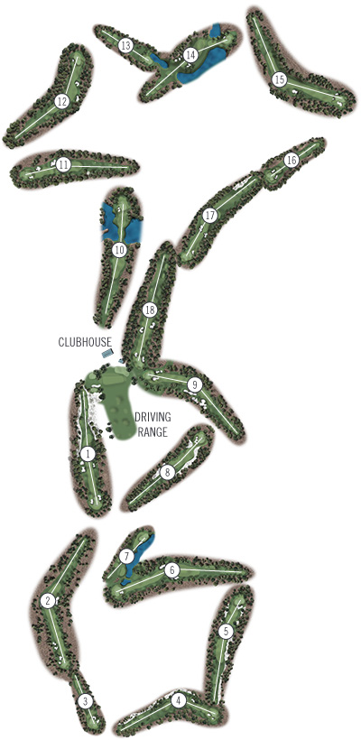 Course Illustration for Pinehurst No. 6