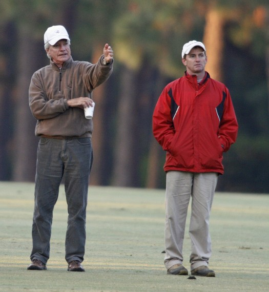 Pinehurst No. 2 Superintendent Kevin Robinson, right, stands with Bill Coore during the Pinehurst No. 2 restoration.