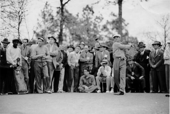 Ben Hogan tees off during the 1951 Ryder Cup at Pinehurst No. 2.