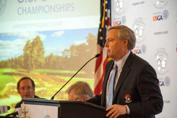 Pinehurst Owner Robert Dedman Jr. addresses the media at Pinehurst on U.,S. Open Media Day. (Photo by John Gessner)