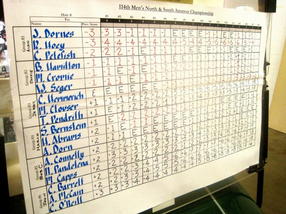 The makeshift North & South leaderboard at the 14th green played a significant role for the players coming down the stretch of the third round of the 114th north & South Amateur on Thursday at Pinehurst No. 8.
