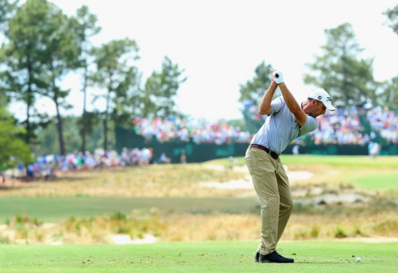 Geoff Ogilvy of Australia hits his tee shot on the 13th hole during the first round of the 114th U.S. Open at Pinehurst Resort & Country Club, Course No. 2 on June 12, 2014 in Pinehurst, North Carolina. (June 11, 2014 - Source: Andrew Redington/Getty Images North America)