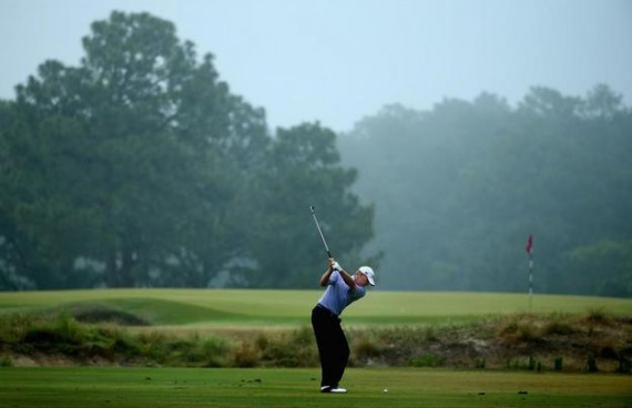 Steve Stricker hits an approach shot on the third hole during the second round. (Streeter Lecka/Getty Images)