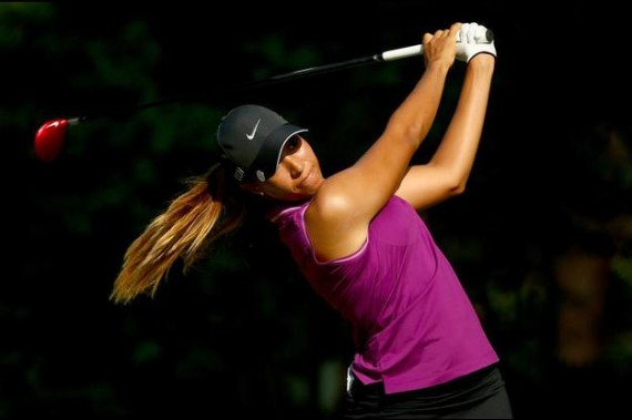 Cheyenne Woods hits a tee shot on the third hole during the first round. (Streeter Lecka/Getty Images)