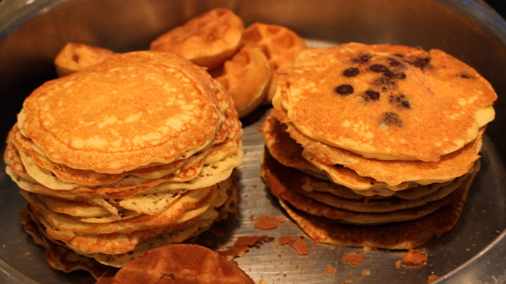 Pancakes And Waffles Await Hungry Diners