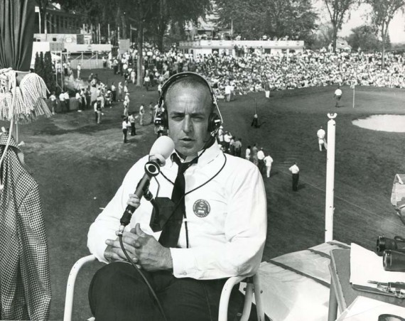 John Derr at home in his element - from a TV tower broadcasting golf for CBS.