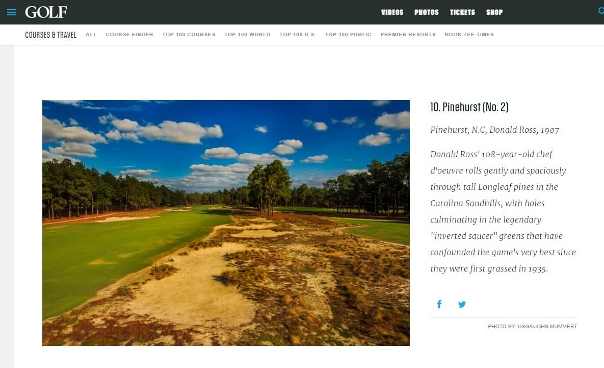 pinehurst no 2 ranked again among the very best courses in the