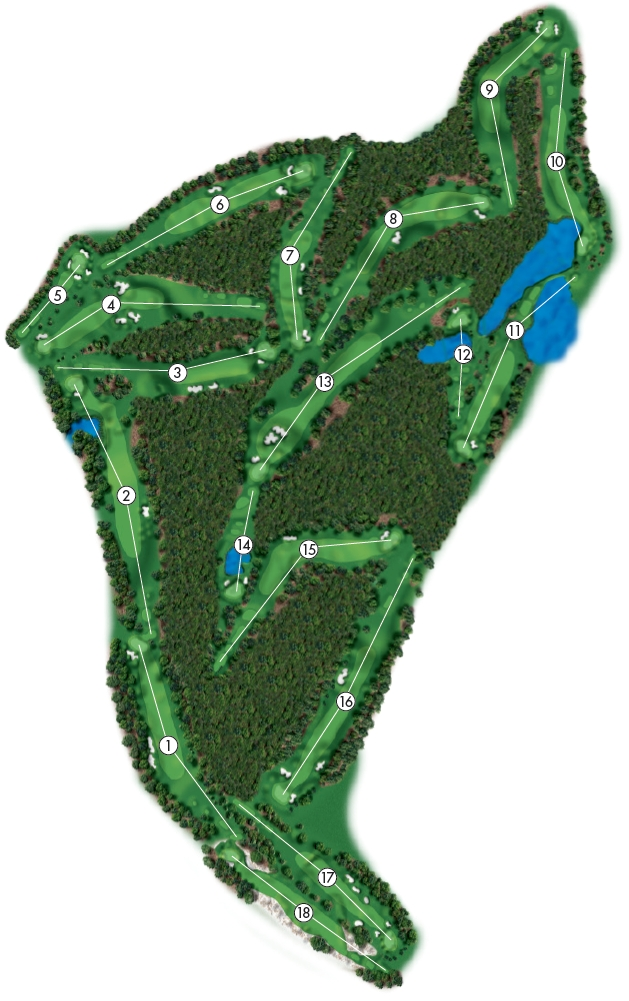 Course Illustration for Pinehurst No. 5