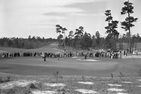 The fourth green of Pinehurst No. 2, as it appeared during the 1936 North & South - the same year Pinehurst hosted its first major event, the 1936 PGA Championship. Photo courtesy of the Tufts Archives.