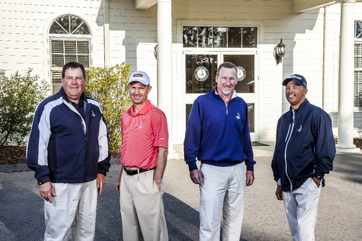 At the Pinehurst Golf Academy, students receive instruction from golf professionals who have called the range at Pinehurst home for several years: (from l-r) Eric Alpenfels, Kelly Mitchum, Geoff Lynch and Paul McRae.