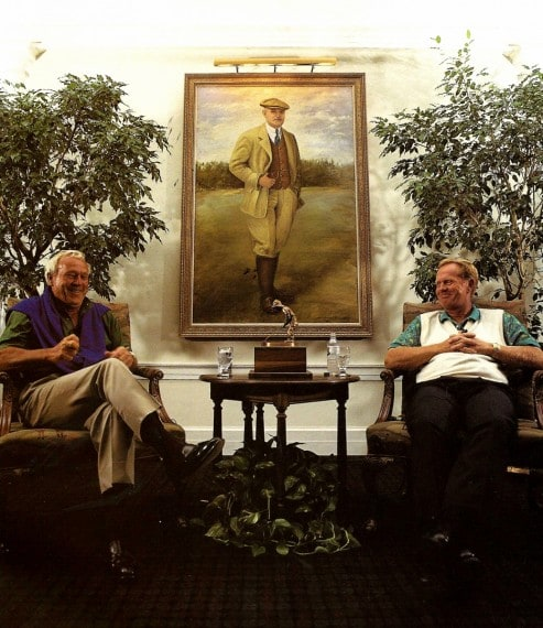 Arnold Palmer and Jack Nicklaus share a laugh in the Donald Ross Grill at Pinehurst Resort before their 1994 match on Pinehurst No. 2.