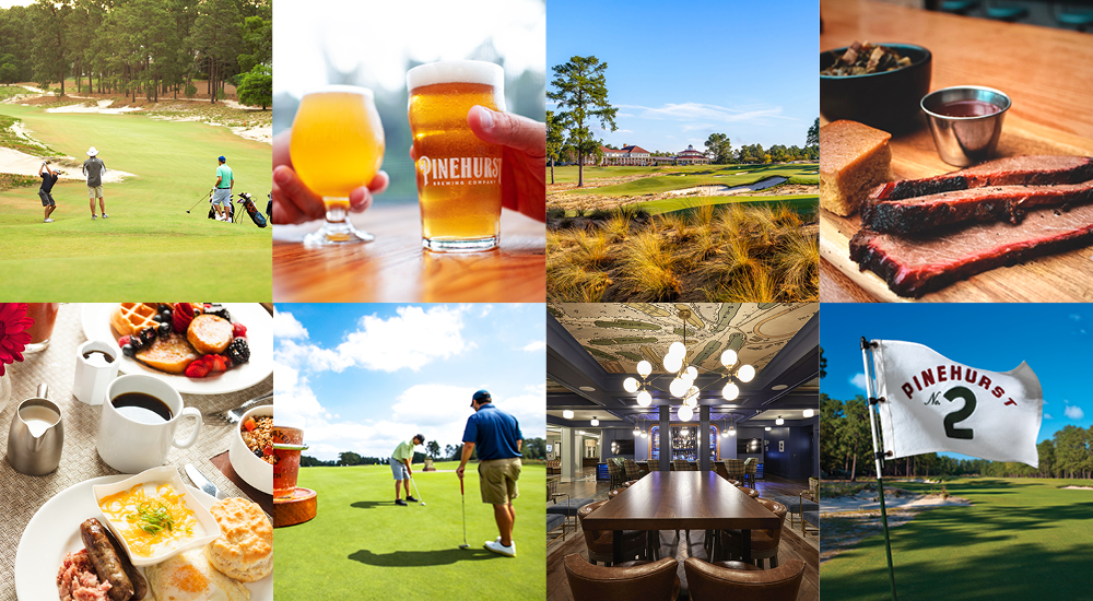 A collage of images showing some of Pinehurst's most popular activities.